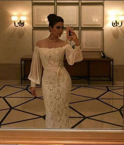 Elegant Lace Mermaid Evening Dresses Turkey Off The Shoulder Prom Dresses With Sleeve Floor Length Long Arabic Formal Party Gowns For Women on Sale