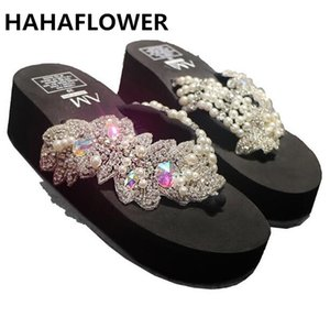 Wholesale HAHAFLOWERsummer women sandals shiny diamond crystals handmade pearl slip on sandal slides bohemia slippers wedge platform heels
