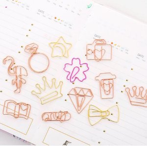 metal rose gold paper clips creative DIY mini memo notes letter clips craft clips bookmarks stationery school office supplies