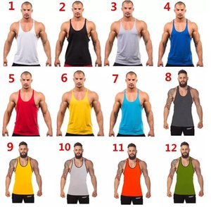 Factory Price ! 12 colors Cotton Stringer Bodybuilding Equipment Fitness Gym Tank Top shirt Solid Singlet Y Back Sport clothes Vest 2018