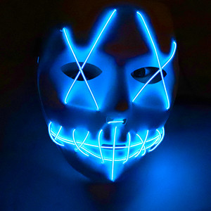 Wholesale New Led Halloween Ghost Masks The Purge Election Year EL Wire Glowing Mask Neon Models Flashing Party Scarey Horror Terror Skull Mask