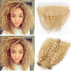 russische tiefe reine haare großhandel-Russisches Blondes Menschenhaar Bundles Deals Deep Wave mit Frontal Blondes Ohr zu Ohr x4 Lace Frontal Closure mit Virgin Hair Weaves