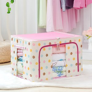 Wholesale Folding Oxford Steel Frame Storage Box Clothing Quilt Waterproof Cloth Finishing Box Multi color Organizador Armario Storage Bag
