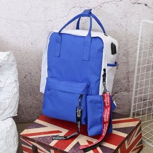 New backpack smart usb charging interface backpack Korean version of the tide student bag travel headset hole backpack