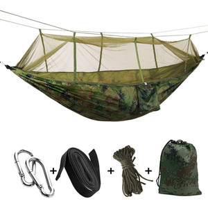 Wholesale Portable High Strength Parachute Fabric Camping Hammock Hanging Bed With Mosquito Net Sleeping Hammock