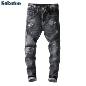 Wholesale Sokotoo Men s white flower embroidery ripped skinny jeans Embroidered black distressed stretch denim pants