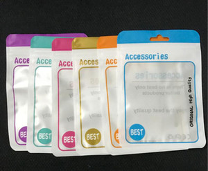 Wholesale 500pcs Android Apple mobile phone accessories packaging zipper bag with hang hole for earphone data cable charger adapter