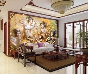 Wholesale wallpapers women for sale - Group buy Oil painting Dunhuang Flying Fairy Woman Large Mural Living Room Bedroom TV Background Wallpaper Seamless Wallpaper Wallpaper