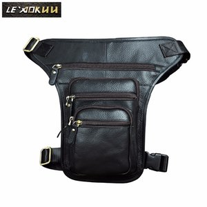 Wholesale New Leather Men Design Casual quot Tablet Shoulder Bag Black Fashion Multifunction Travel Waist Belt Pack Leg Bag Male b