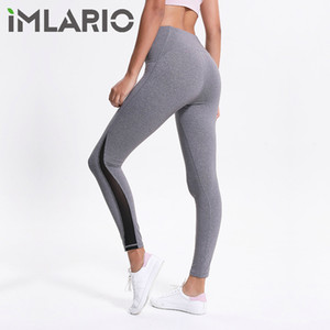 Wholesale Imlario Black Mesh Yoga Leggings Pants with Pockets High Waist Fitness Sports Wear Tummy Control Workout Straight Leg for Women