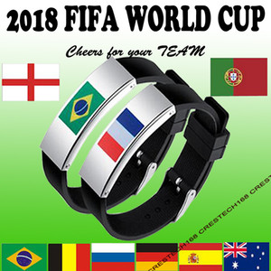 Wholesale Germany flag stainless steel 9 cuntries National Flag silicon bracelet 2018 world cup charm gifts cheers brazil germany