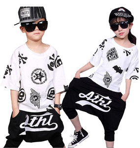 Brand Summer Clothes Girls Boutique Outfit Dance Dress For Girls Jazz Hip Hop Costumes Children's Clothing Girls Set Unisex 3-14 Years on Sale