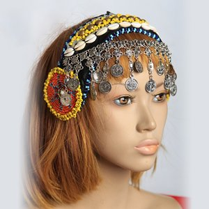 Wholesale New Arrivals Gypsy Dance Women Beads Headpiece Metal Head Chains Coins Vintage Jewelry Tribal Belly Dance Accessories