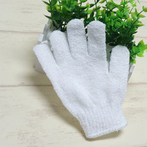 White Nylon Body Cleaning Shower Gloves Exfoliating Bath Glove Five Fingers Bath Bathroom Gloves Home Supplies T2I337