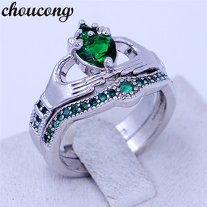 Wholesale claddagh rings for sale - Group buy choucong colors Birthstone couple claddagh ring A zircon cz White Gold Filled Wedding Band Bridal sets ring for women men