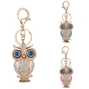 Wholesale Popular Alloy Diamond Colored Owl Keychain Ladies Bag Pendant Car Accessories Pendant Key Chains Styles Fashion Jewelry Free DHL D955Q