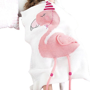 Wholesale Wool Yarn Knitted Blanket Unicorn Flamingo Cotton Throw Autumn Winter Warm Kids Baby Bath Towel High Quality qt hh