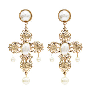 Wholesale Bohemian Elegant Gold Alloy Cross Shape Pearl Drop Earrings for Women Bridal Wedding Party Jewelry Gift