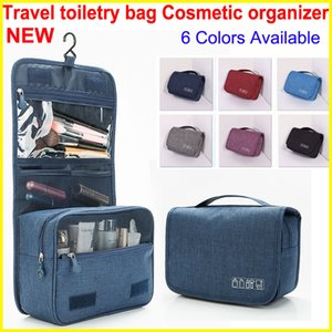 2018 Style Cosmetic Organizer bag with Hook Portable Travel bag Hanging Toiletry Bags Wash Waterproof Large Capacity Makeup Bags 6 Colors