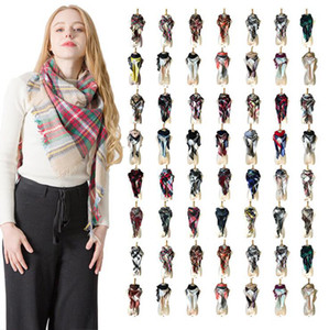 Wholesale Triangle Plaid Scarf Styles Women Acrylic Cashmere Shawls Scarves Soft Warm Tassel Scarf Cape Bandage Girls Shawls OOA5694