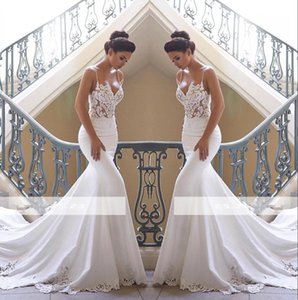 776a56e2b32 2019 Spaghetti Straps Lace Mermaid Wedding Dresses Satin Lace Applique  Sweep Train Wedding Bridal Gowns BC0190