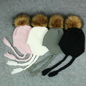 Wholesale 2018 Cute Toddler Kids Girl Boy Baby Infant Winter Warm Crochet Knit Hat Beanie Cap Black Pink White Green