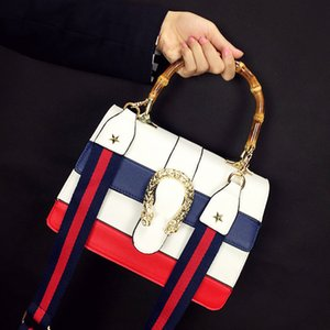Wholesale Brand White Women Messenger Bags Blue Red Navy Stripes PU Leather Flap Handbag