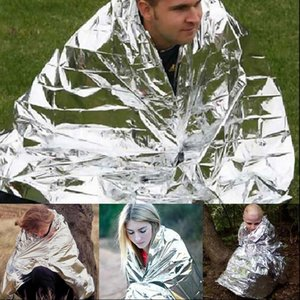 Wholesale Portable Outdoor WaterProof Emergency Survival Rescue Blanket Foil Thermal Space First Aid Sliver Rescue Curtain Military Blanket