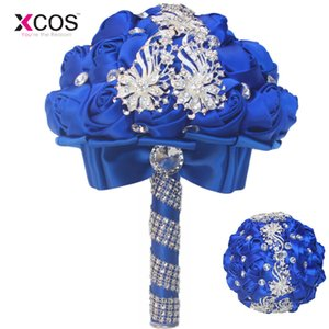 royal blue wedding flowers blumenstrauß großhandel-Neue Royal Blue Wedding Bouquet Kristall Korn künstliche Rosen Blumen Braut Bridesmaod Bouquets ramos de flores