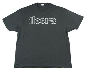 Wholesale The Doors White Logo Grey T Shirt New Official Band Merch Classic
