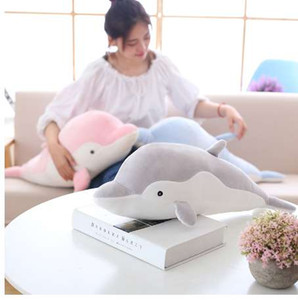 Wholesale 50cm Soft Dolphin Plush Toys Dolls Stuffed Down Cotton Animal Pillow Kawaii Office Nap Pillow Kids Toy Christmas Gift for Girls