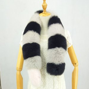 Wholesale Winter Full Pelt Real Fox Fur Scarf Fashion Warm Women Fox Fur neck warmer long Fur Scarves with Tail White Black scarf
