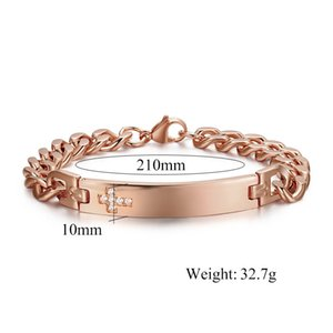 Drop shipping unisex stainless steel bracelets men's cubic zirconia bracelet women's fashion accessories jewelry factory seller 047