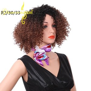 Wholesale Ombre Curly Wigs for Black Women short Inches Kinky Curly Synthetic Wig Heat Resistant Cheap African American Wigs Black Afro Curly Hair