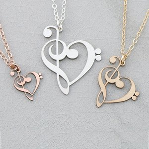 Wholesale 2018 New Arrival Copper Treble Bass Clef Charm Necklace Music Teacher Gift Drop Shipping Accepted YP6042