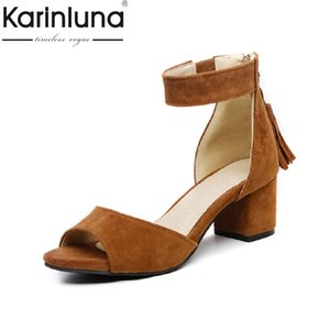 Wholesale KARINLUNA small big size hot sale peep toe rome style woman shoes concise square med heels platform dating party sandals