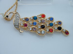Wholesale elegant colorful peacock crystal stone Necklace Pendant chain