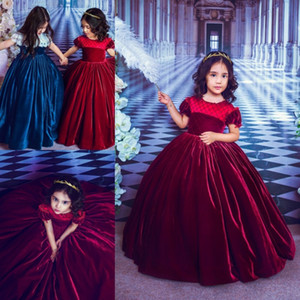 Wholesale Gorgeous Girls Velvet Flower Dresses With Short Puffy Sleeve Ball Gown Wedding Party Dresses Colour Red Birthday Kids Dress