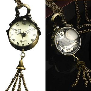 Wholesale Womens Quartz Pocket Watch PC Victorian Style Vintage Necklace Watch Pendant Glass Ball Shape Keychain M12