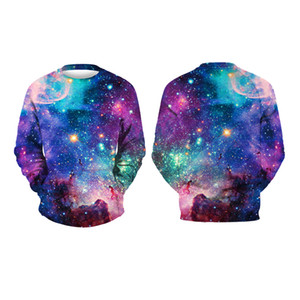 Youthcare Pullover 3D Sweater Blue Galaxy print Men and Women Pullover Long sleeve tops hoodies 449