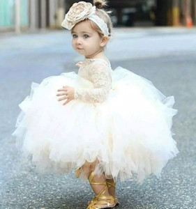 Wholesale baby girls' pageant dresses resale online - 2018 cute baby girl baptism gown christening dress jewel neck long sleeves lace bodice ruffles ball gown skirt toddler pageant dresses