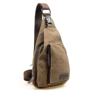 Wholesale Men s Canvas Unbalance Backpack Shoulder Sling Chest Bicycle Bag Coffee
