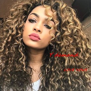 Wholesale Newest Fashion inch Long Curly Wavy Hair Afro Wig Siulation Like Brazilian Human Hair Wig Y demand