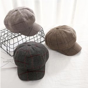 Wholesale fashion beret art female artist hat Korean version of women autumn and winter days vintage plaid octagonal hat
