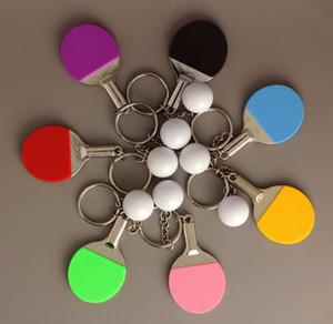 Wholesale 7 colour Table Tennis Racket Pink Ping Pong Ball Metal Keychain Key Ring NEW Silver Mini