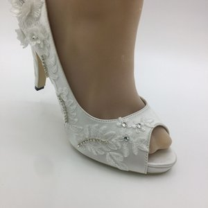 Wholesale Ivory women Open Toes heel shoes wedding bridal shoes size