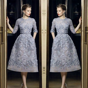 2018 Elie Saab Short Prom Dresses Lace Knee Length Appliques Half Sleeves Evening Dress Formal Party Gowns on Sale