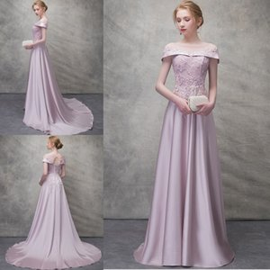 Wholesale 2018 Princess Style Evening Dresses Jewel Neck Lace Applique Prom Gowns Crystal A Line Evening Dress With Lace Up Back
