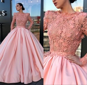 Wholesale Ball Gown Prom Quinceanera Dresses Bateau Long Sleeves Lace Appliques Organza Sweep Train Party Evening Formal Gown