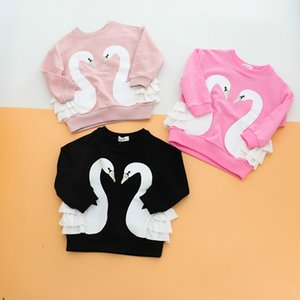 Wholesale Girls T shirt Swan Design with Swing Girls Sweaters Swan Printed Long Sleeve Autumn Spring Breathable Warm Cotton T